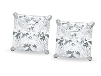 Silver 8mm Square CZ Stud Earrings