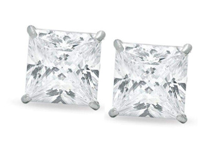 Silver 8mm Square CZ Stud Earrings