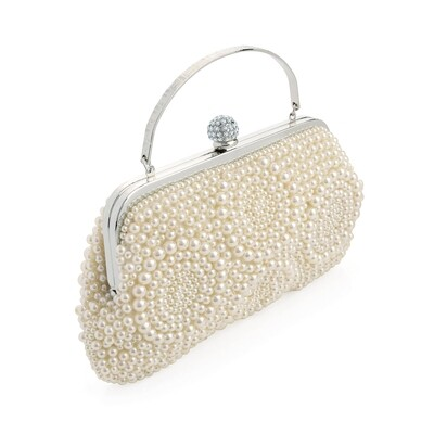 Rhodium colour crystal and cream pearl effect bead clutch bag