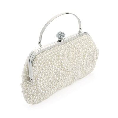 Rhodium colour crystal and white pearl effect bead clutch bag