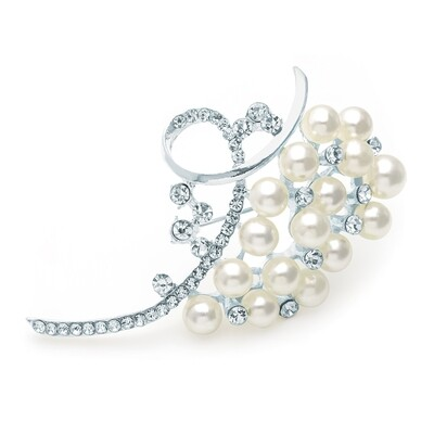 Silver and white pearl colour crystal brooch