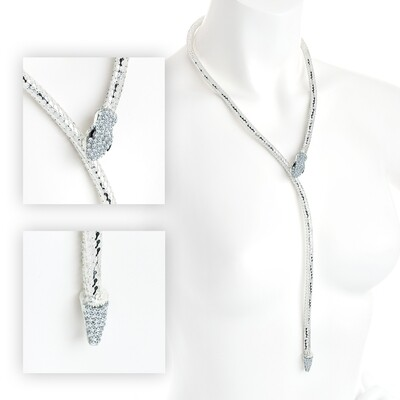 Shiny silver and crystal adjustable snake design necklace with magnetic clasp
