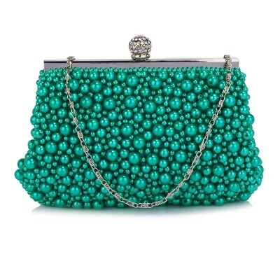 Emerald Vintage Beads/Pearls Crystal Evening Clutch Bag