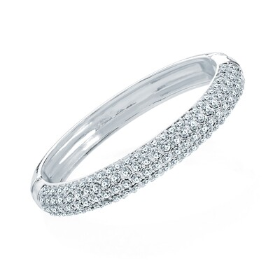 Silver Colour Crystal Hinge Bangle