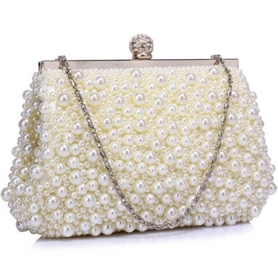 Ivory Vintage Bead Pearls Crystal Evening Clutch Bag