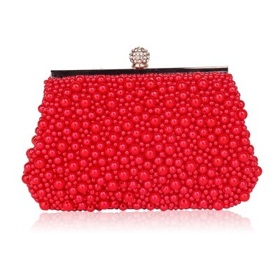 Red Vintage Beads Pearls Crystals Evening Clutch Bag
