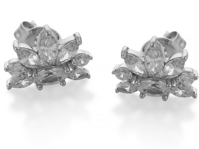 Silver Rhodium Plated CZ Earrings