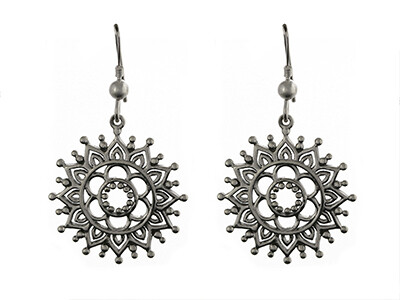 Silver Antique Finish Henna Pattern Dropper Earrings