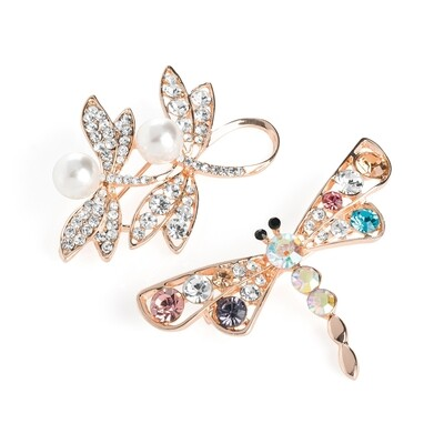 Dragonfly Brooch set two piece pearl & crystal