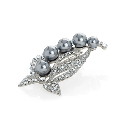 Rhodium colour crystal grey pearl effect leaf brooch