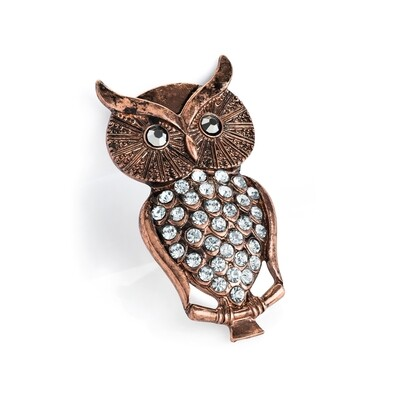 Burnished rose gold and hematite colour owl brooch