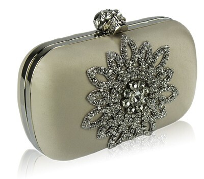 Beige Sparkly Crystal Satin Clutch Purse