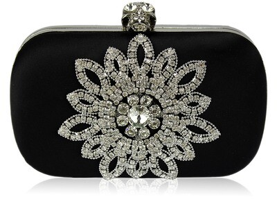Black Sparkly Crystal Satin Clutch Purse
