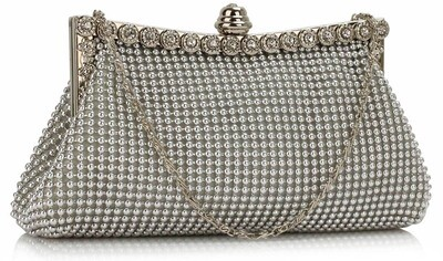 Silver Sparkly Crystal Satin Clutch Purse