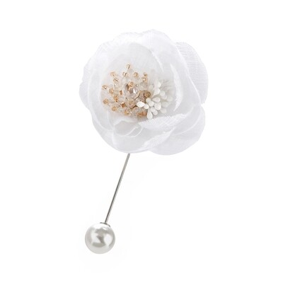 Cream flower Pearl effect glass bead brooch pin