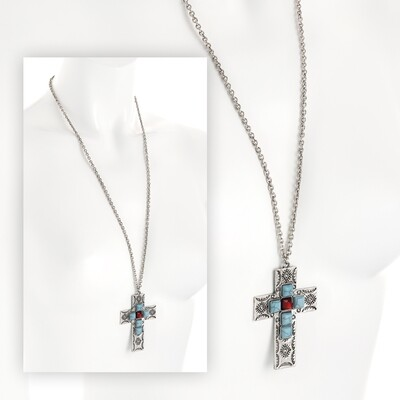 Burnished silver colour turquoise and red bead Cross chain necklace
