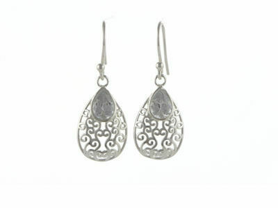 Silver Filigree CZ Dropper Earrings