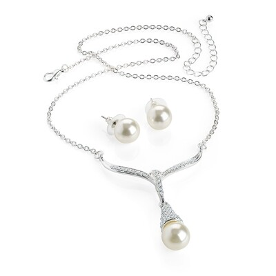 Silver colour crystal, cream pearl effect necklace set