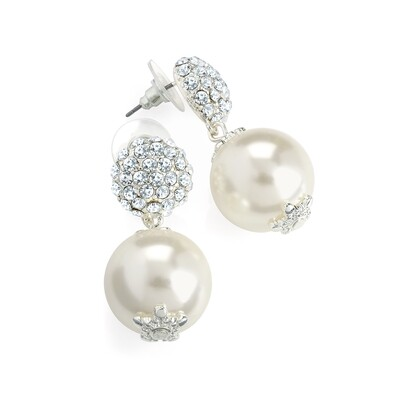 Silver colour crystal cream pearl effect drop earring