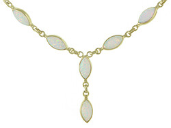 """9ct Gold Created Opal Necklace 7.5"""""""