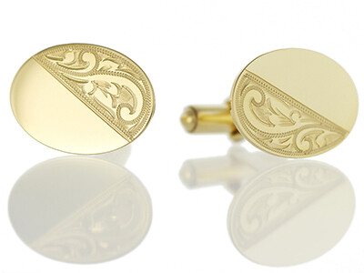 9ct Half Engraved Flat Oval Cufflinks