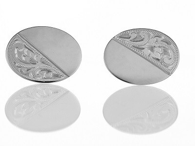 Silver Half Engraved Flat Oval Cufflinks