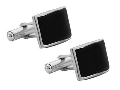 Silver & Black Agate Rectangular Cufflinks