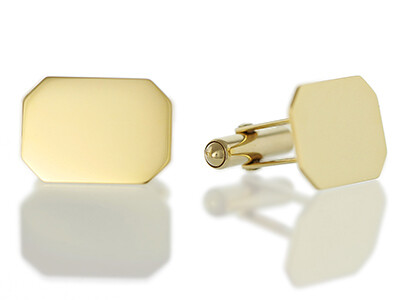 9ct Plain Flat Oblong Cufflinks