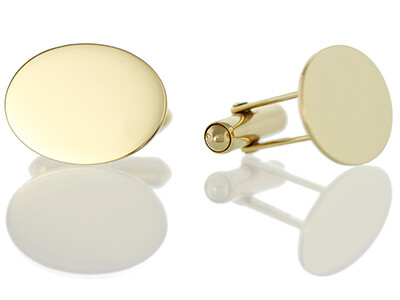 9ct Plain Flat Oval Cufflinks