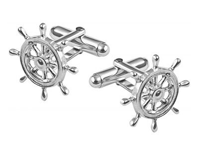 Silver Ships Wheel Cufflinks