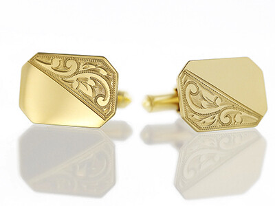 9ct Half Engraved Oblong Cufflinks