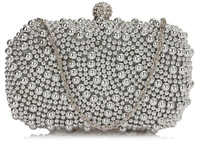 Silver Beaded Pearl Rhinestone Clutch Bag