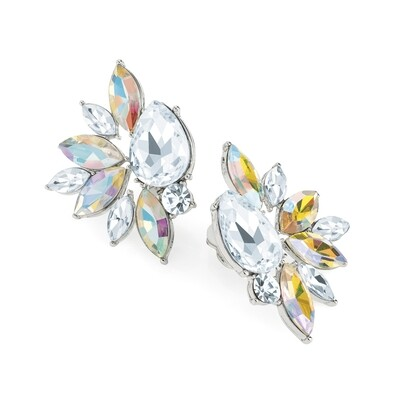 Rhodium colour crystal and AB crystal clip on earring