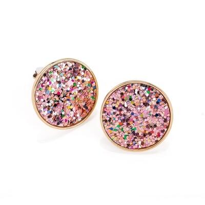 Gold colour multi glitter effect Clip On Earring