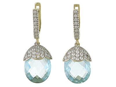 9ct Gold Blue Topaz & CZ Dropper Earrings