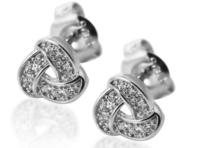 Silver Rhodium Plated CZ Studs