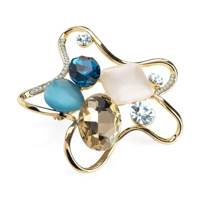 Gold colour crystal blue tone brooch