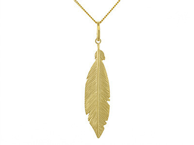 Silver Gold Plated Large Feather Necklace