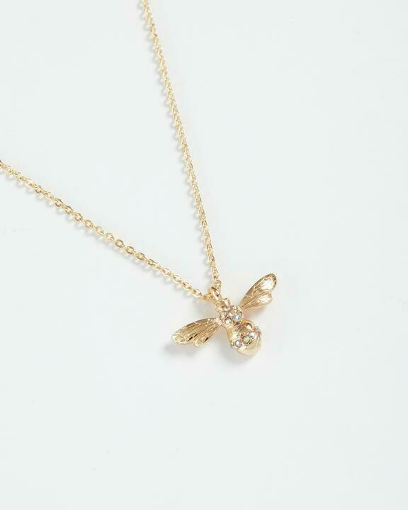 FABLE Gold Pave Bee Long Necklace