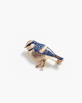 FABLE Enamel Blue Tit Brooch