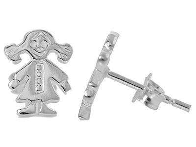 Silver 'Girl' Stud Earrings