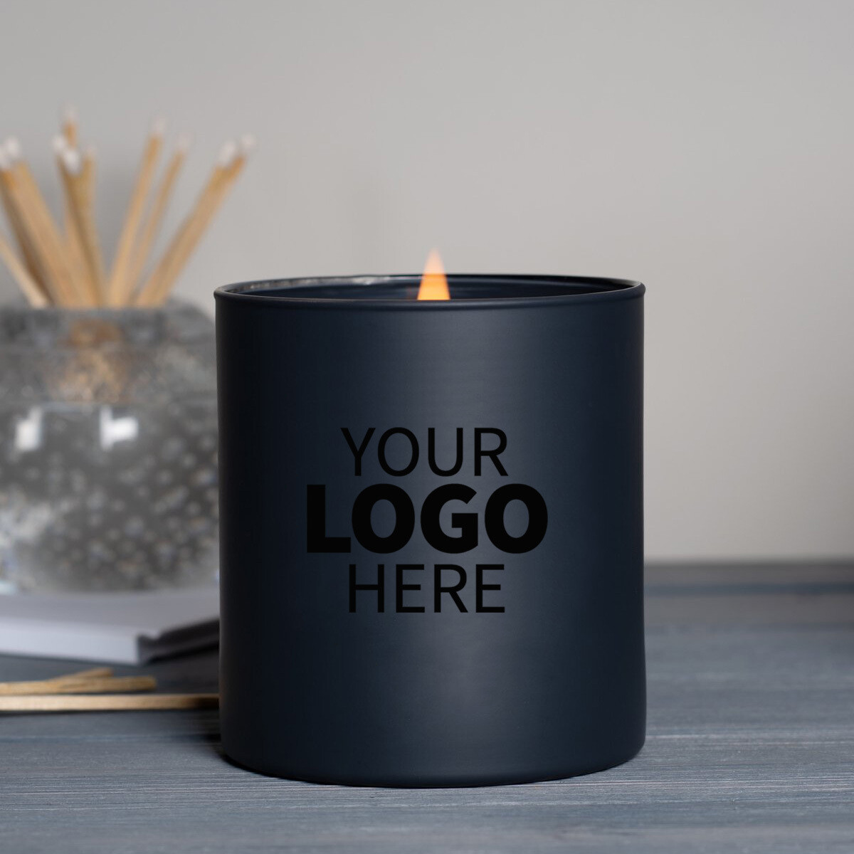 13.5 oz. Black Jar Printed Logo Candle Package