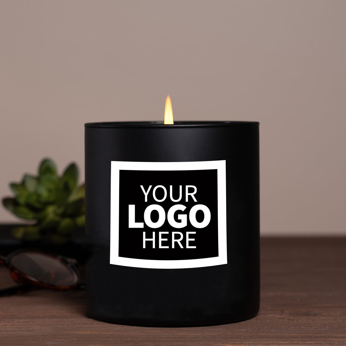 Large Black Label Logo Jar Candle Package
