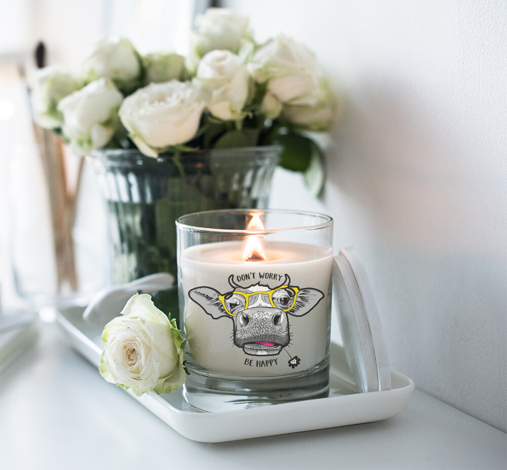 Don't Worry Be Happy Cow Candle