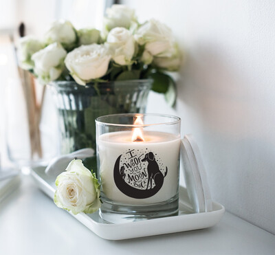 I Woof You To The Moon And Back Dog Candle