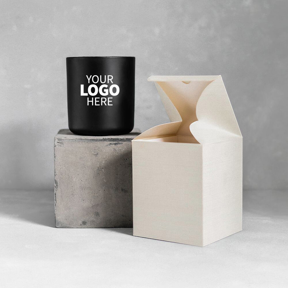 Large Luxury Black Label Logo Jar Candle Package