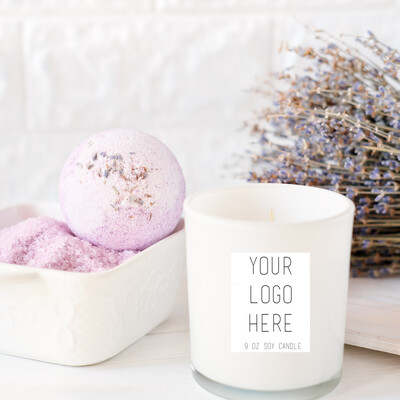 10 oz. White Glossy Logo Candle Package