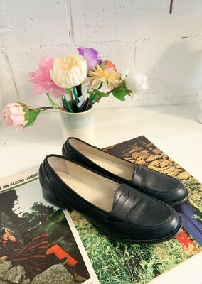 Vintage 1960s Flat Black Loafers Dead Stock