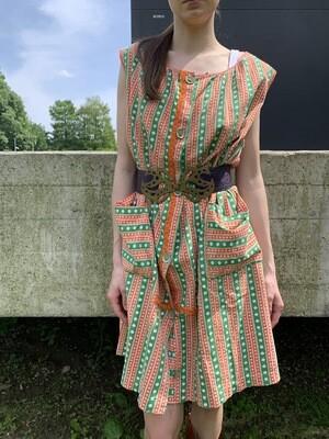Vintage 1970's Floral Apron Dress Grandma Style
