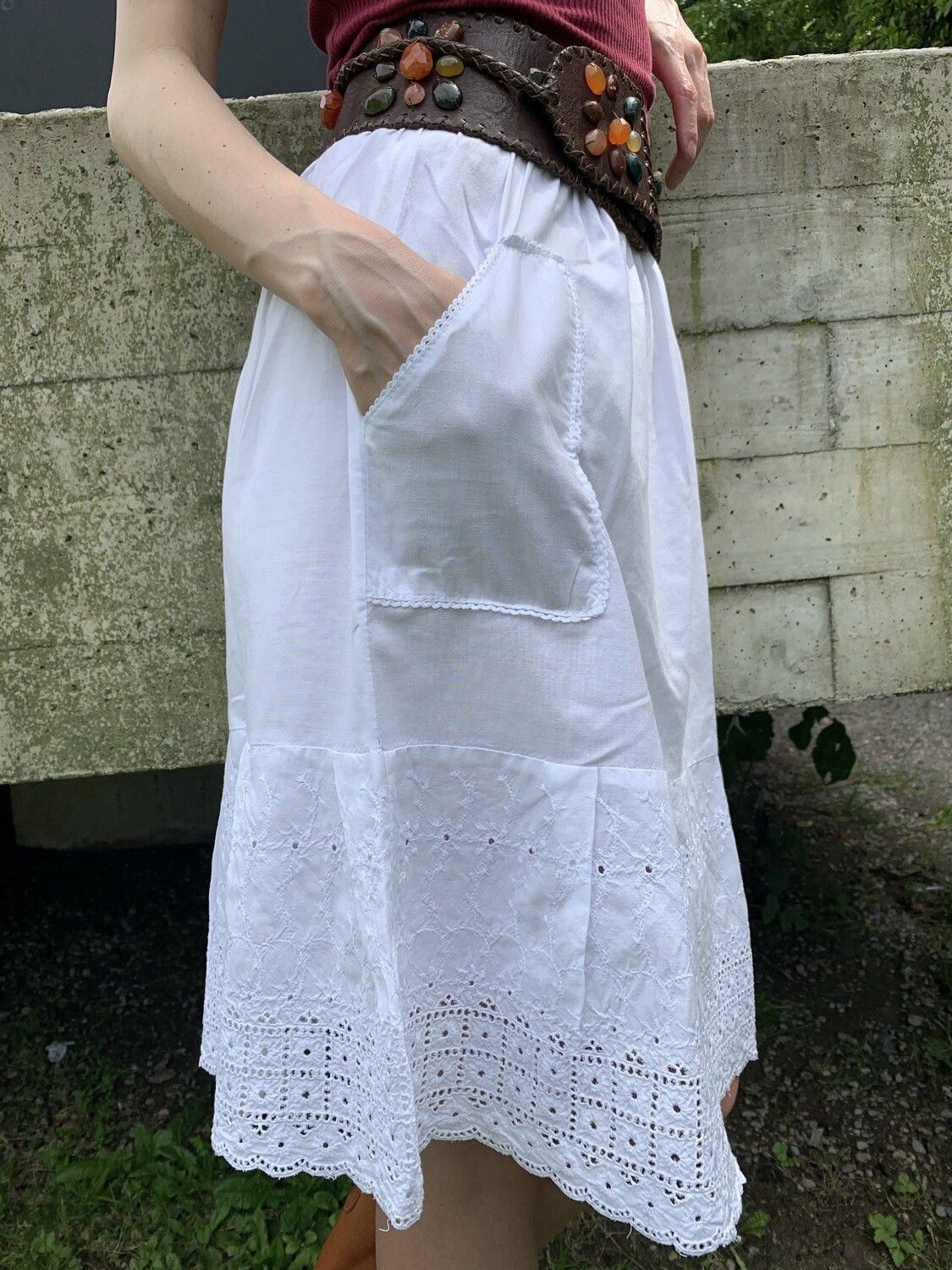 Vintage 1960 Lace Embroidery White Skirt